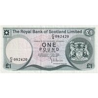Scotland Note 1980 1 Pound, VF (holes)