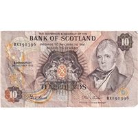 Scotland Note 1986 10 Pounds, VF