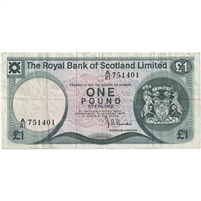Scotland Note 1972 1 Pound, F-VF (damaged)