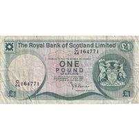 Scotland Note 1981 1 Pound, F-VF (damaged)
