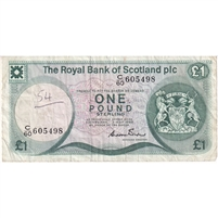 Scotland Note 1982 1 Pound, VF (writing)