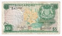 Singapore Note 1973 5 Dollars, F-VF