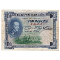 Spain Note 1925 100 Pesetas, EF