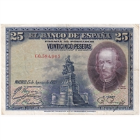 Spain Note 1928 25 Pesetas, EF