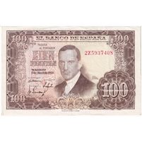 Spain Note 1953 100 Pesetas, EF