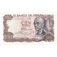 Spain Note 1970 100 Pesetas, AU (holes)