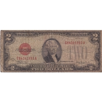 United States Note FR#1505 1928D $2, VG