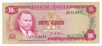Jamaica Note 1970 50 Cents, AU