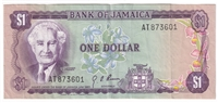 Jamaica Note 1970 1 Dollar, VF-EF