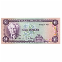 Jamaica Note 1976 1 Dollar, Signature 4, EF