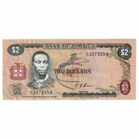 Jamaica Note 1970 2 Dollars, EF