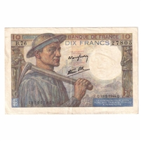 France Note  Pick #99e 1944 10 Francs, Extra Fine