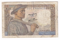 France Note 1942 10 Francs, VF (holes)