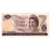 New Zealand Note 1967-68 1 Dollar, Fleming Signature, VF
