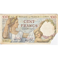 France Note 1941 100 Francs, VF (dam'g)