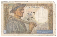 France Note 1943 10 Francs, VF (damaged)