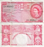 1961 British Caribbean Paper Money 1 Dollar, VF-EF