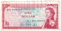 East Caribbean States Note Pick #13d 1965 1 Dollar, Signature 5, VF (stain)