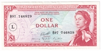 East Caribbean States Note Pick #131 1965 1 Dollar, Signature 1, L Overprint, AU