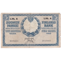 Finland Note 1909 5 Markkaa, VF (tears)