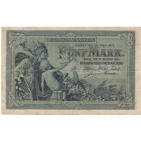 Germany Note 1904 5 Mark 6 Digit, F