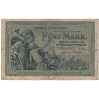 Germany Note 1904 5 Mark 6 Digit, VG