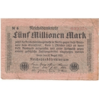 Germany Note 1923 5 Million Mark, F