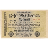Germany Note 1923 10 Million Mark, 106b AU