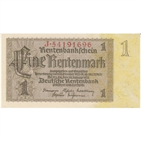 Germany Note 1937 1 Rentenmark 8 Digit, UNC