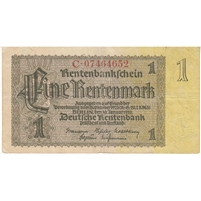 Germany Note 1937 1 Rentenmark 8 Digit, F-VF
