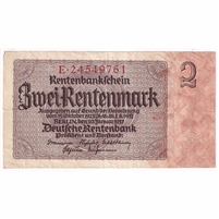 Germany Note 1937 2 Rentenmark 8 Digit, VF-EF