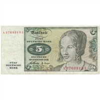 Germany Note 1960 5 Deutsche Mark, VF