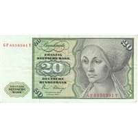 Germany Note 1980 20 Deutsche Mark, VF-EF