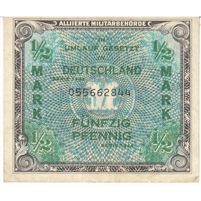 Germany Note 1944 1/2 Mark 9 Digit, EF
