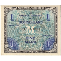 Germany Note 1944 1 Mark 9 Digit with F, EF-AU