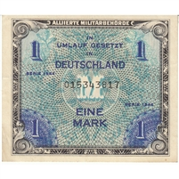 Germany Note 1944 1 Mark 9 Digit with F, EF