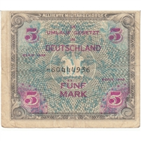 Germany Note 1944 5 Mark 8 Digit without F, VF
