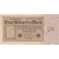 Germany Note 1923 5 Billion Marks, VF (tear)