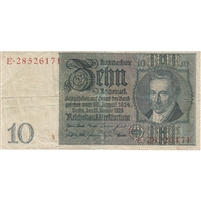 Germany Note 1929 10 Reichsmark, F (damaged)