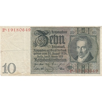Germany Note 1929 10 Reichsmark, F (hole)