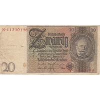Germany Note 1929 20 Reichsmark, VF (stain)