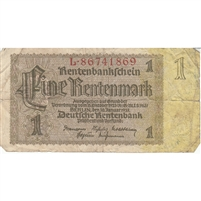 Germany Note 1937 1 Rentenmark 8 Digit, F (damaged)