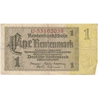 Germany Note 1937 1 Rentenmark 8 Digit, F (hole)