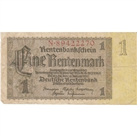 Germany Note 1937 1 Rentenmark 8 Digit, F (holes)