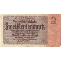 Germany Note 1937 2 Rentenmark 8 Digit, VF (holes)