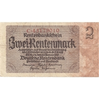 Germany Note 1937 2 Rentenmark 8 Digit, F (tears)