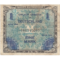 Germany Note 1944 1 Mark 9 Digit with F, VF (hole)