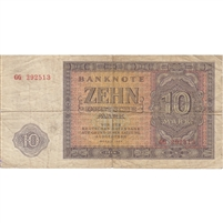 Germany Note 1955 10 Deutsche Mark, F (tears)