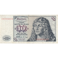 Germany Note 1960 10 Deutsche Mark, F-VF (tear)