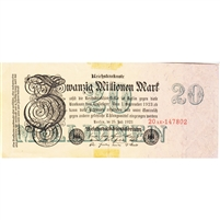 Germany Note 1923 20 Million Mark 6 Digit, EF (damaged)